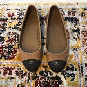 Chanel Glitter Tweed Ballerina Flats Size 39